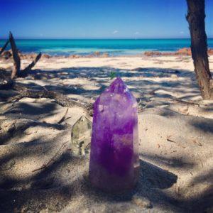crystals on beach